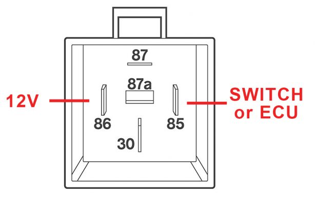 pin 30: this should be connected to the battery through a fuse and should  be capable of supplying whatever current the load (the fan or pump)  requires